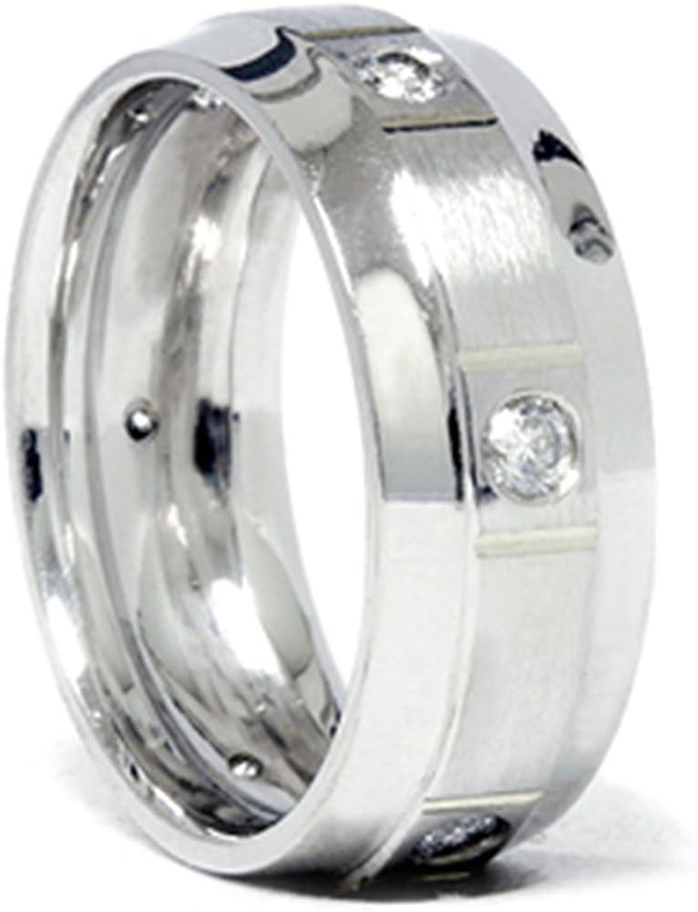 Mens 3/4ct Comfort Fit 14K White Gold Diamond Wedding Band Ring