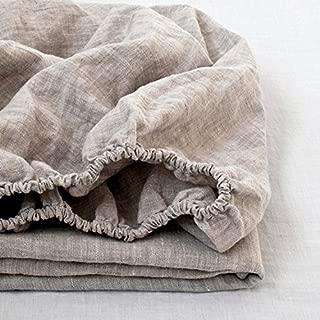 Simple&Opulence - Sábana bajera ajustable de 100% puro lino, Linen, matrimonio