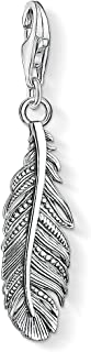 Thomas Sabo Colgante Charm Pluma Charm Club de Mujer con Plata de Ley 925, Plateado