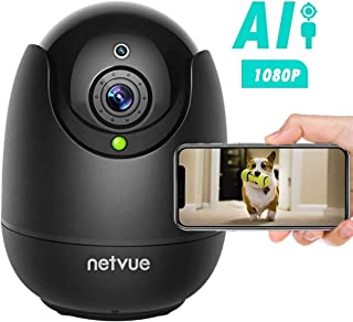 NETVUE Cámara de Vigilancia 1080P WiFi Interior Compatible con Alexa Echo Show Camara WiFi con Completo Debe IR de Alerta de detección Humana para beby/Elder/Pet/Nanny Monitor Negro