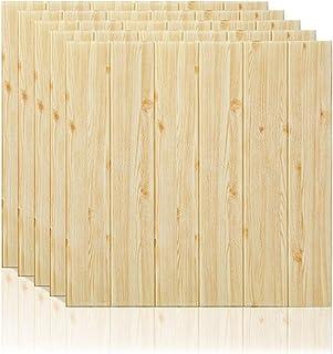 comprar comparacion 5 piezas 3D Papel tapiz de Estilo de madera, repique extraíble y pegatina de pared de espuma PE para sala de estar 22.05 s...