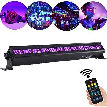 XYFW UV Schwarzlicht 54W 18Leds 7 Beleuchtung Modi Party Licht Strahler UV Lampe B/ühnenbeleuchtung Led Scheinwerfer Fernbedienung DMX Steuerung Discolicht Effektlicht