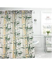 """HOMECROWN Bamboo Leaf Design Waterproof Shower Curtain for Bathroom, 7 Feet PVC Curtain with 8 Hooks – 54""""x 84"""", Green Color"""