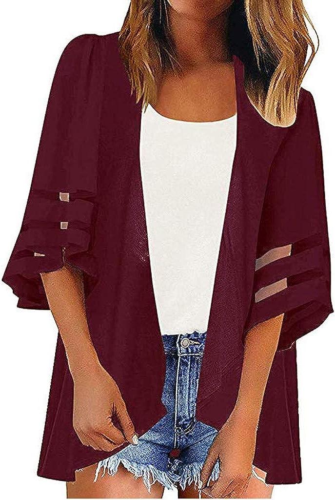 LINKIOM Women Mesh Panel 3/4 Bell Sleeve Pure Color Chiffon Casual Loose Kimono Cardigan