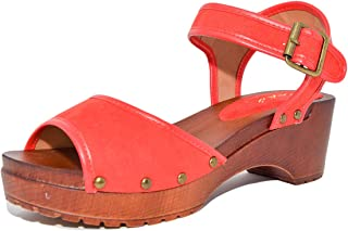 Sidecca Qupid KEEN-10 Vintage Style Studded Open Toe Faux Wood Low Clog Sandal