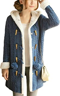 Women's Sherpa Lined Twisted Long Hooded Toggle Cardigan Sweaters Jackets