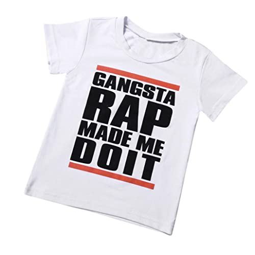 Kids Tops for 1-6 Years Old,Fashion Toddler Baby Boys Letter Print Short Sleeve Tees T Shirt Outfits Clothes