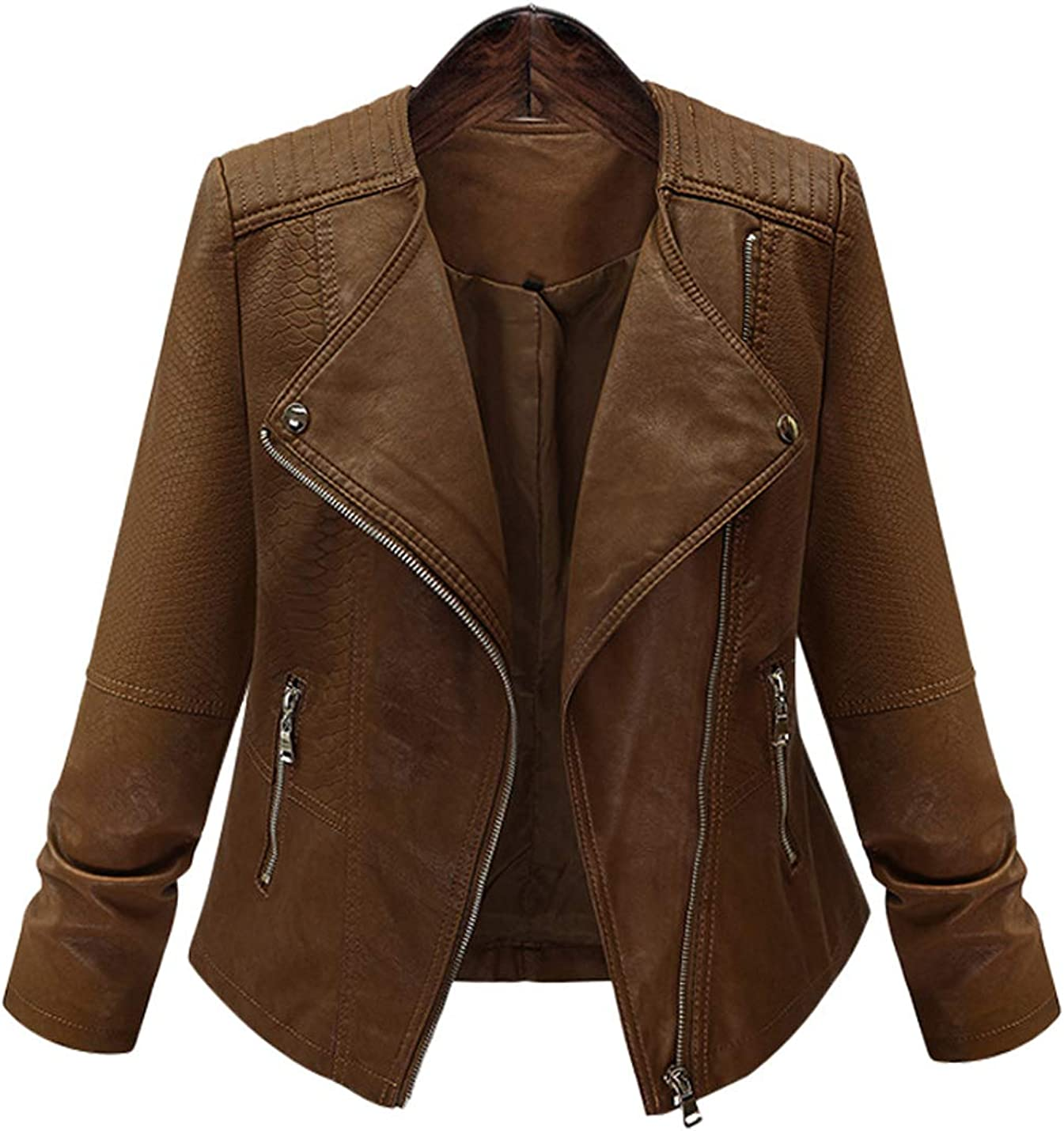 Hongsui Women's Cardigan Slim PU Leather Long Sleeve Zipper Short Moto Biker Coat