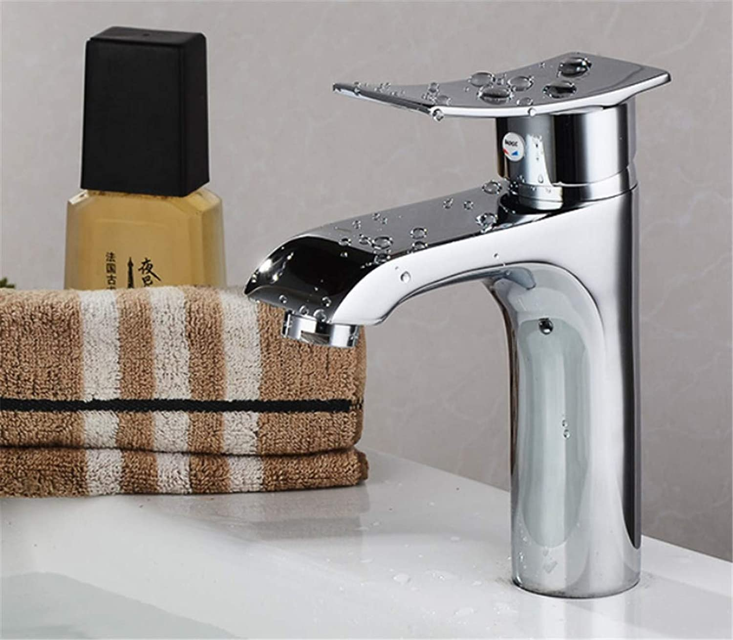 Faucet Modern Luxury All Copper Washbasin Faucet Hot and Cold Water Mixing Basin Faucet Single Hole Single Handle