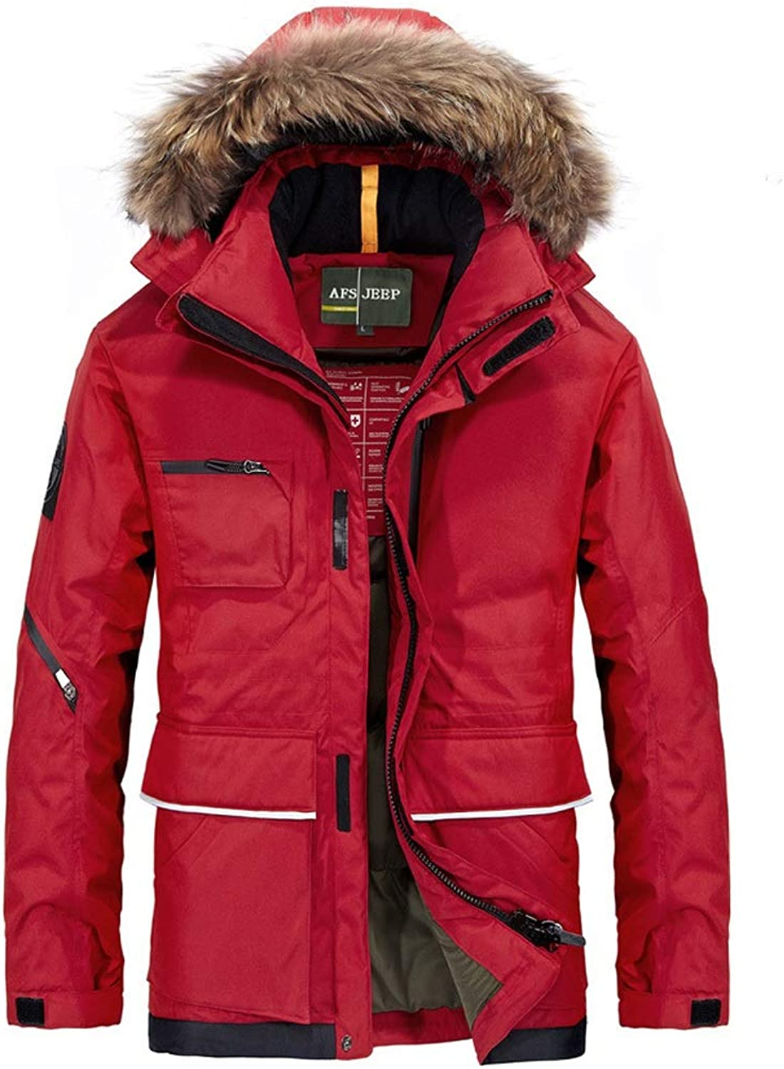 New Down Jacket, Men's Long Thick Hooded Jacket with Large Fur Collar, Winter Outdoor Cold Jacket, Suitable for Cold Weather (color   Red, Size   XXL)