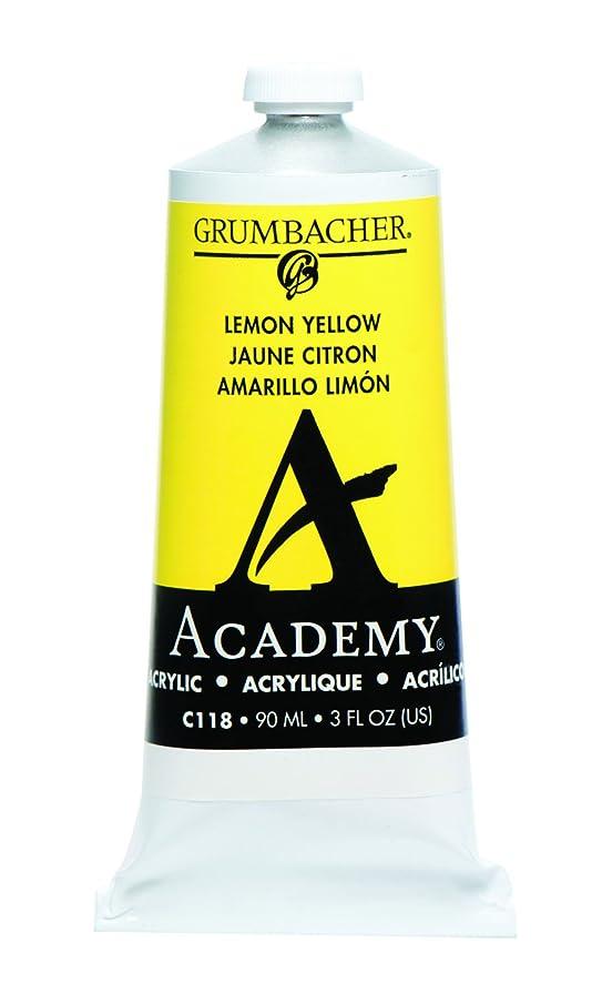 Grumbacher Academy Acrylic Paint, 90ml/3 oz Metal Tube, Lemon Yellow
