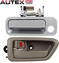 AUTEX Door Handle 2pcs Silver Exterior Front Left Door Handle + Beige Interior Front/Rear Left Door Handle Driver Side Compatible with Toyota Camry 1997 1998 1999 2000 2001 79426 69220-33040