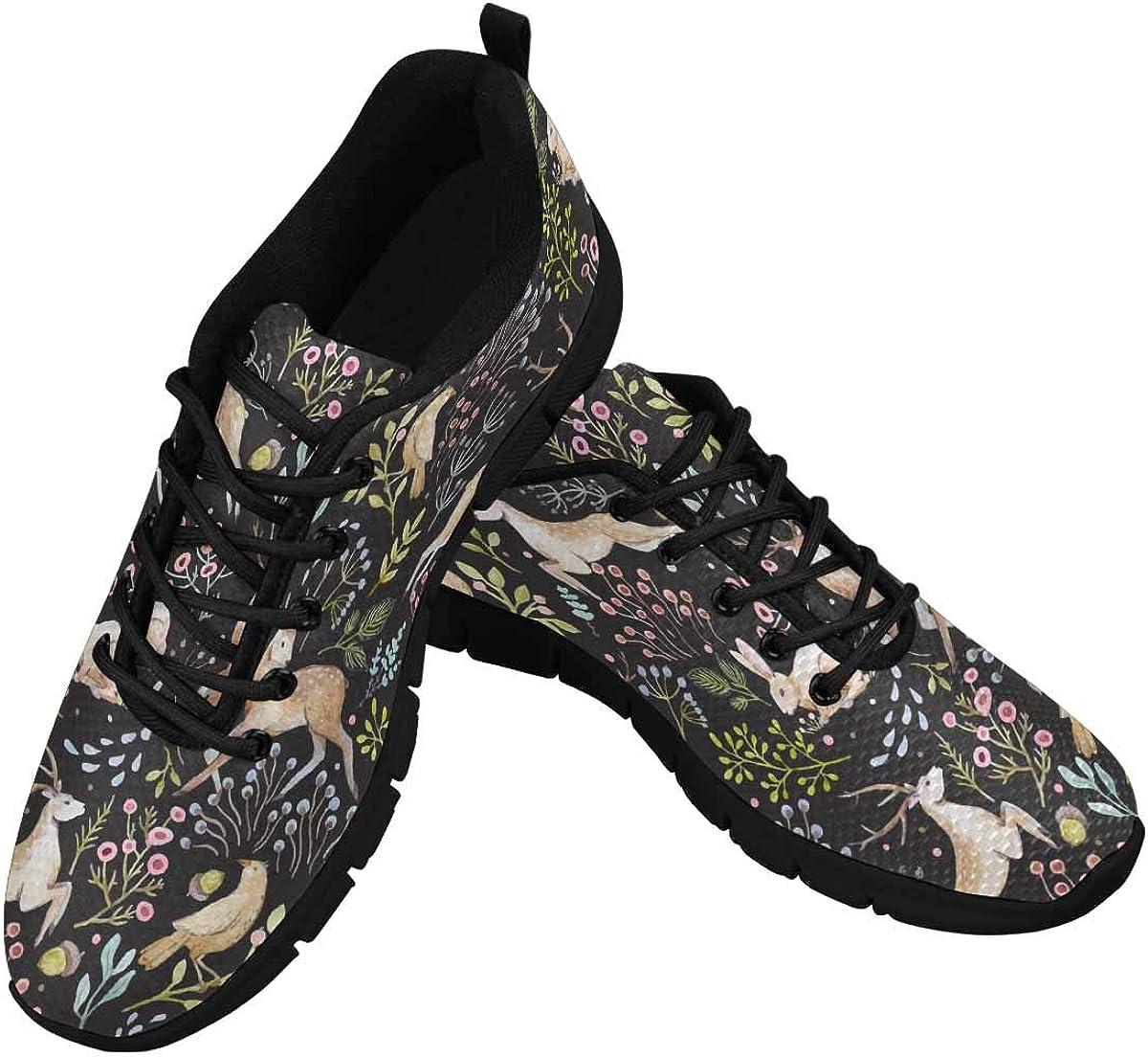 InterestPrint Deers Rabbits Birds Women's Athletic Walking Running Sneakers Comfortable Lightweight Shoes