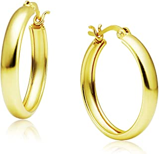 Big Apple Hoops - High Polished Sterling Silver Click-Top Hoop Earrings Made from Yellow Gold Plated Real Solid 925 Sterli...