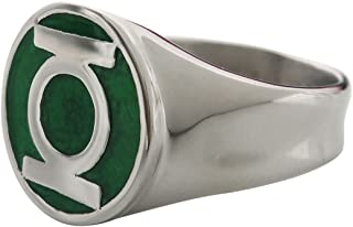 DC Comics Men's Stainless Steel Green Lantern Ring with a Classic Green Enamel Inlay