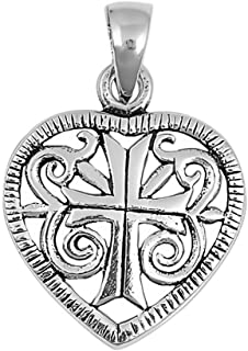 Glitzs Jewels 925 Sterling Silver Pendant for Necklace (Medieval Heart) | Cute Gift for Women
