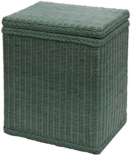korb.outlet Wäschekorb/Wäschebox mit Deckel und Inlett aus echtem Rattan, Wäschetruhe (Grün)