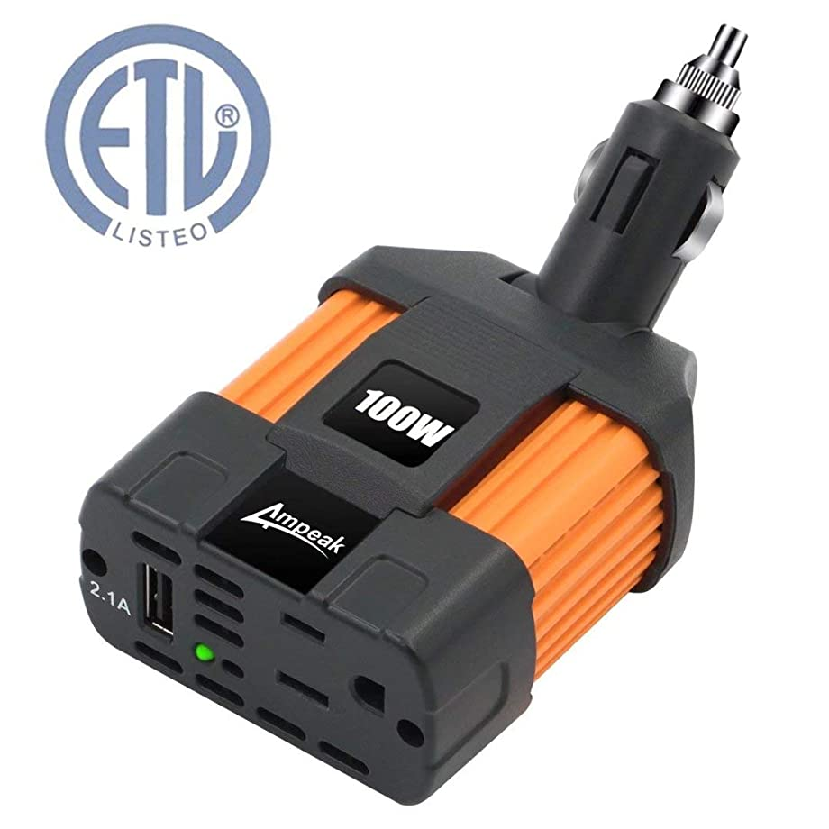Ampeak 100W Car Power Inverter DC 12V to 110V AC Converter with 2.1A USB Car Adapter