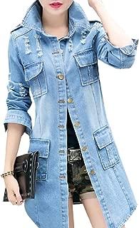 Howme-Women Slim Casual Lapel Single Button Denim Mid Long Cardigan