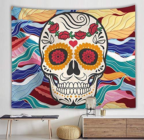 Tapiz de calavera colgante de pared boho tapiz de pared floral decoración mandala colorido tapiz psicodélico tapiz A5 73x95cm