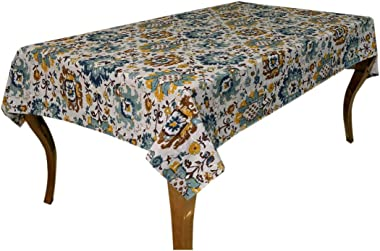 Bilberry Furnishing By Preeti Grover Cotton Table Cover Tablecloth for 6 to 8 Seater Dinning (7.5 Feet Long, Multocolor-1pc)