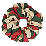 VHC Brands Christmas Holiday Decor Tan Round, 15 x 15, Burlap Wreath Red, Natural and Green