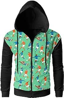 Feitengdaye Soccer Player Game Men's Full-Zip Hooded Jacket Coat Sweatshirt Outdoor Sports Classic Fit