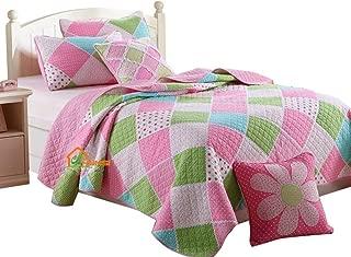 HNNSI Cotton Kids Girls Quilt Comforter Sets Queen Size, Children Teens Girls Bedspread Bedding Sets(Pink Blue Green White Patchwork)