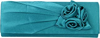 Phenovo Women Girls Ladies Glossy Satin Rose Flower Chain Strap Purse Handbag Clutch Party Accessory Turquoise