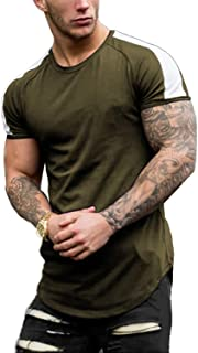 Men's Short Sleeve Muscle T-Shirt Workout Tee Casual Slim Fit Longline Tshirts