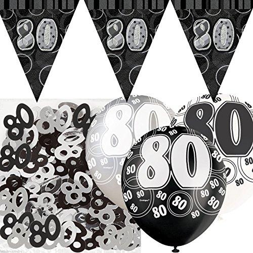 Party Showroom Kit de décoration de fête Noir et Argent 80 ans avec bannière avec fanions