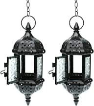 "GKanMore 2Pcs Hanging Candle Lantern Retro Moroccan Candle Holder Hollow Metal Glass Candle Holder Lantern with 15.7"" Hang..."