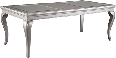 Benjara Rectangular Molded Wooden Dining Table with Cabriole Legs, Silver