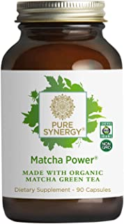 Pure Synergy Matcha Power (90 Capsules) Ceremonial Japanese Green Tea Convenient Capsules