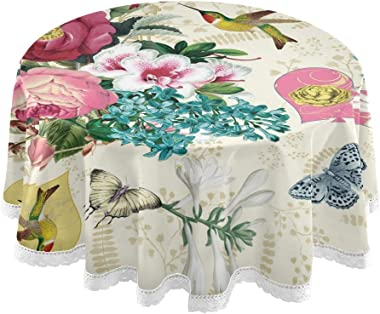 Toprint Valentines Day Rose Birds Round Tablecloth 60 inch Love Hearts Butterfly Table Cloths Cover Mat Lace Washable Polyest