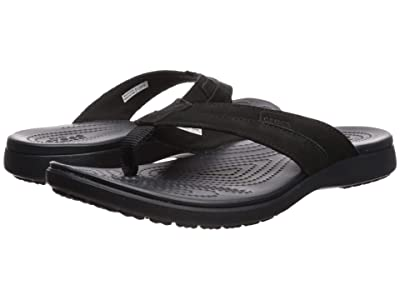 Crocs Santa Cruz Leather Flip (Black/Black) Men