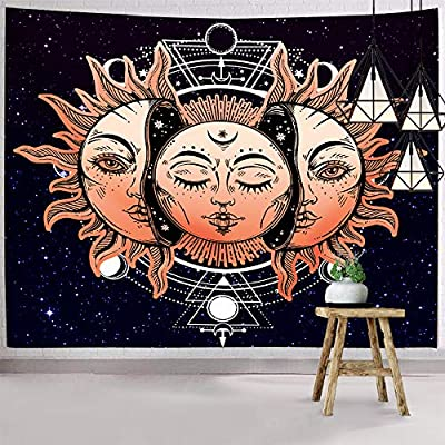 Hexagram Psychedelic Celestial Sun And Moon Tapestry Wall Hanging Hippie Gold Burning Sun Wall Art With Mystic Tarot Card Small Wall Tapestry For Bedroom Living Room Dorm Decor - Sizes: S-51.2(h) X 59.1(w) (130*150cm) Material: Hexagram Sun Tapestry Made From Silky Polyester Fabric. And Basically No Smell. Which Is Soft, Durable, Safety, Lightweight And Easy To Hang Or Pack Away For Your Indoor Or Outdoor Use. Unique Design: Unique Moon Sun Tapestry Combine The Constellations, Phases Of The Moon, Purple Space And Blue Starry Tapestry. Don't Worry About Fading. Feathering Vivid Colors, Crisp Lines And Delicate Hemming, It Will Bring Your Room A More Permanent Harmonious Decoration. Detailed Craftsmanship And Qualified Material Make It Popular Among Teenagers And Adults. - living-room-decor, living-room, home-decor - 61t5EgwfAPL. SS400  -
