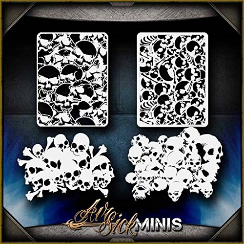 Mini Skull Background 1 AirSick Airbrush Stencil Art Template Design