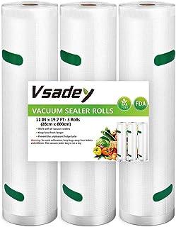 Vsadey Sacs Sous Vide Alimentaire 3 Rouleaux 28 X 600 CM, pour Toutes les Appareil de Mise sous Vide, Cuisiner au Micro-on...
