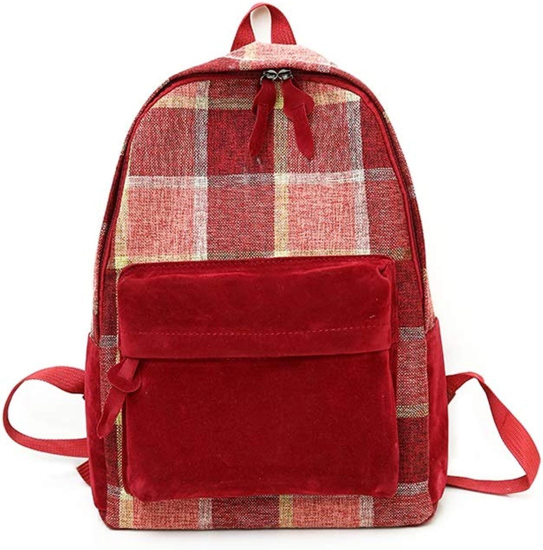 QRFDIAN Mdchen-Rucksack-einfache Plaid-Farben-Farbschultasche-Hochschulrucksack-rote gelbe Blaue Tasche Hochwertiger Stoff (Farbe   Rot, gre   29x12x40cm)