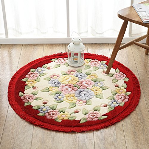 CKH Tapijt voor tuinstoelen, draaibaar, voor tuin, romantisch, draaibaar, kussen voor woonkamer, cammino, suède, rond, antislip, diameter 80 cm