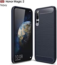 Silicone Case Ultra Light Carbon Fiber Armor ShockProof Brushed Silicone Grip Case Design For Huawei Honor Magic 2 (Color : Navy)