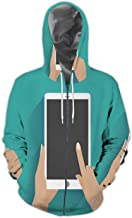 Hand Holding Smartphone with Blank Screen Illustration Digital Tablet,Men's Print 3D Fashion Hoodies Sweatshirts Holding 2XL