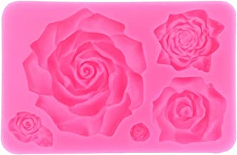 Large 5 Assorted Sizes Roses Resin Fondant Candy Silicone Mold for Sugarcraft, Cake Decoration, Cupcake Topper, Chocolate, Butter, Jewelry, Polymer Clay, Soap Making
