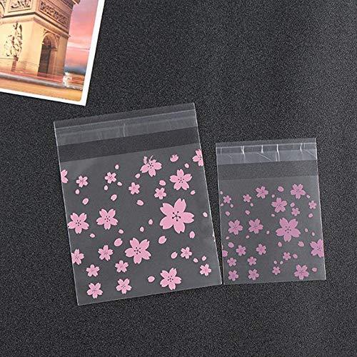 JUNSHUO 300Pcs Sacs à Bonbons Fleur de cerisier rose en chocolat ,Sacs de Cadeaux pour Candy Bar Mariage Anniversaire Noël Partie