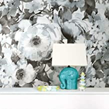 RoomMates Watercolor Floral Black Peel and Stick Wallpaper| Removable Wallpaper
