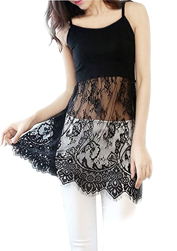 Women Lace Trimmed Top Extender Extra Long Tank Vest Dress