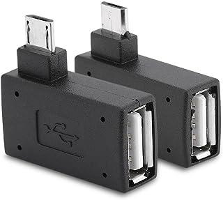 Zerone USB Adapter, rechts, links Winkel, Micro USB 2.0 Stecker, 90 Grad, USB Stecker auf Micro Buchse, 2 Stück