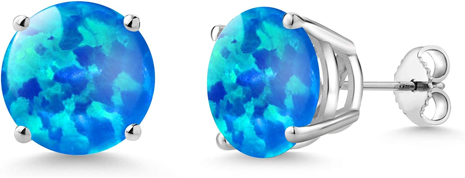 Gem OFFer Stone King 1.88 San Diego Mall Ct Round Simulated Blue Cabochon 10mm 9 Opal