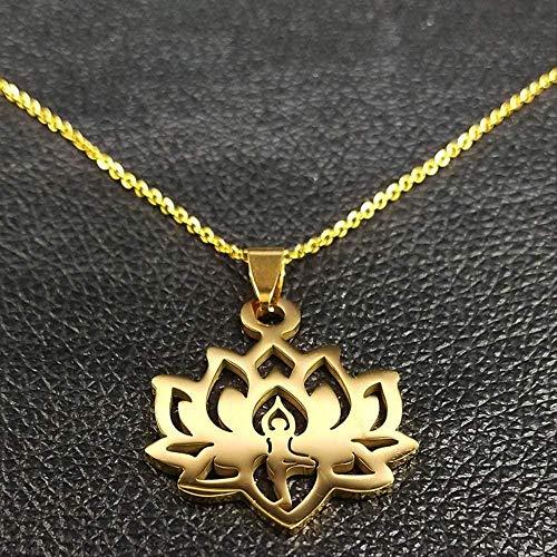 niuziyanfa Co.,ltd Moda Yoga Lotus Collares de Acero Inoxidable para Mujer Collar de Cadena de Color Dorado Joyería 50cm